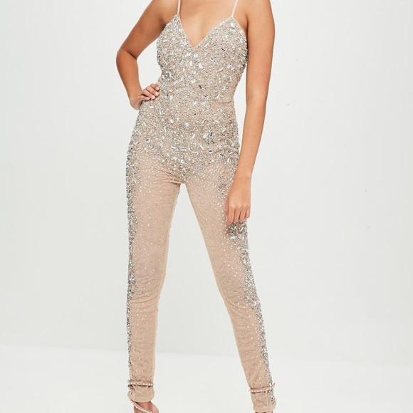 a89d9916a4f9 carli bybel x missguided nude embellished jumpsuit